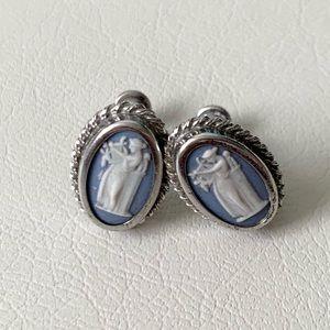 Vintage Wedgewood Sterling Silver Cameo Earrings